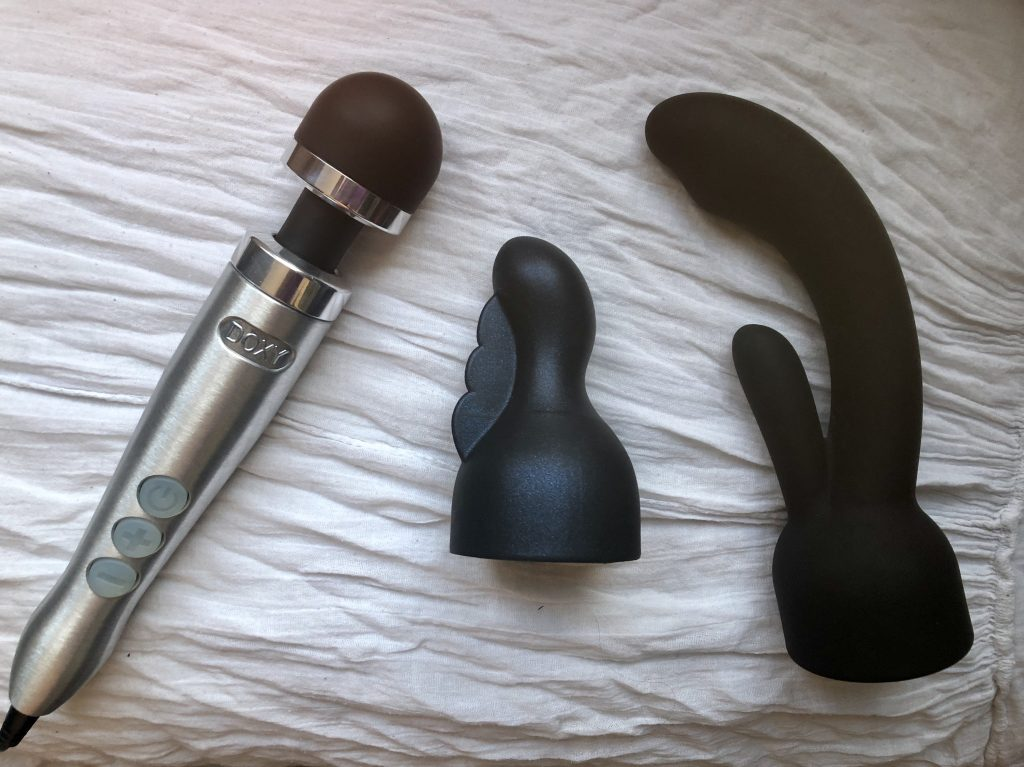 Doxy Number 3 with Nexus Attachments, sex toys, plug-in wand massager, wand massager, clitoral stimulation, couples, g spot, rabbits, vibrators, rabbit massager, orgasm-producing machine, venusohara, venusohara.org